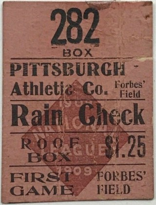 1909 Inaugural Game Forbes Field ticket stub 2000