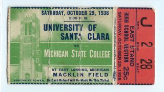 1938 NCAAF Michigan State ticket stub vs Santa Clara