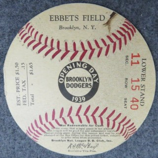 1939 Brooklyn Dodgers Opening Day Ticket stub
