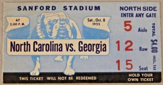 1955 NCAAF Georgia Bulldogs ticket stub vs North Carolina 13