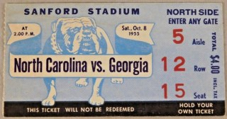 1955 NCAAF Georgia Bulldogs ticket stub vs North Carolina