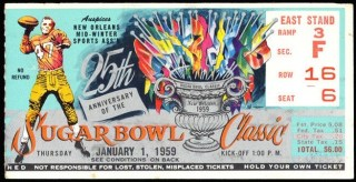 1959 Sugar Bowl ticket stub Clemson vs LSU
