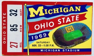 1969 NCAAF Michigan Wolverines ticket stub vs Ohio State