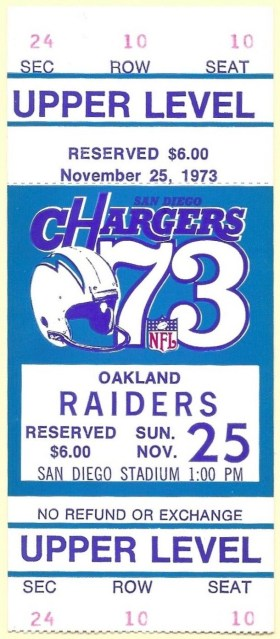 1973 San Diego Chargers ticket stub vs Raiders