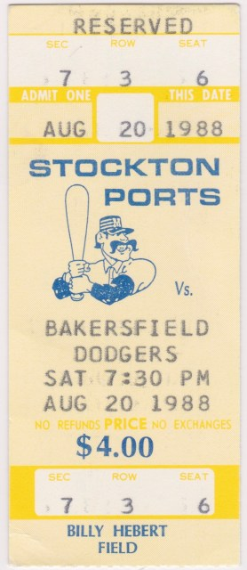 1988 Stockton Ports ticket stub vs Bakersfield Dodgers