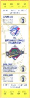1992 World Series Game 3 ticket stub Blue Jays vs Braves