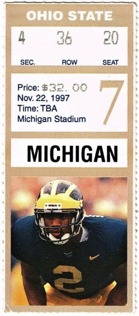 1997 NCAAF Michigan Wolverines ticket stub vs Ohio State 32.50
