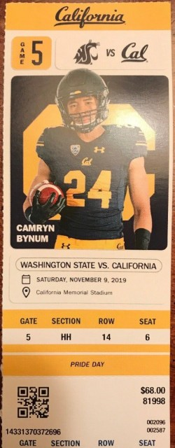 2019 NCAAF California Golden Bears ticket stub vs Washington State