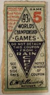 1931 World Series Game 5 ticket stub St. Louis Cardinals vs Athletics