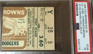 1946 Cleveland Browns inaugural game ticket stub vs Dodgers