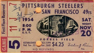 1954 Pittsburgh Steelers tiket stub vs 49ers 17.50