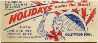 1959 Ticket Stub L.A. Boy Scouts Holidays Under The Stars Hollywood Bowl