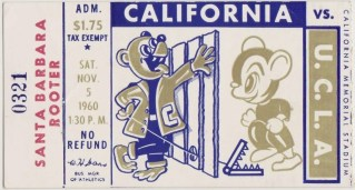 1960 NCAAF Cal Bears ticket stub vs UCLA