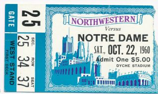 1960 NCAAF Northwestern ticket stub vs Notre Dame 13