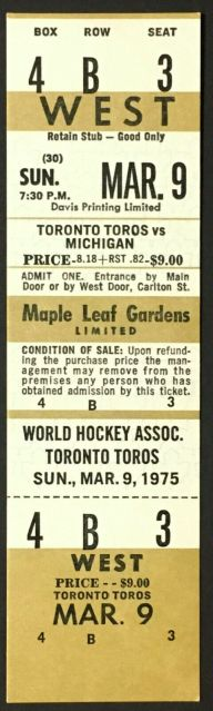 1975 WHA Toronto Toros ticket stub vs Michigan Stags 40