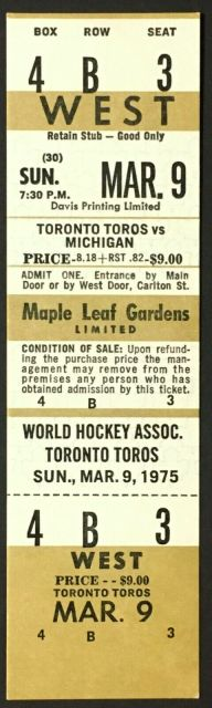 1975 WHA Toronto Toros ticket stub vs Michigan Stags