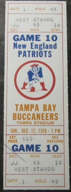 1977 Tampa Bay Buccaneers ticket stub vs Patriots