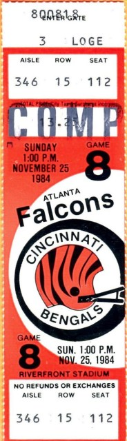 1984 Cincinnati Bengals ticket stub vs Falcons