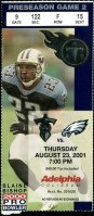 2001 Tennessee Titans ticket stub vs Eagles