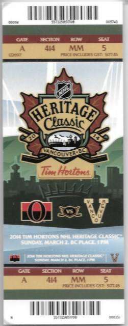 2014 Heritage Classic ticket stub Senators vs Canucks 75