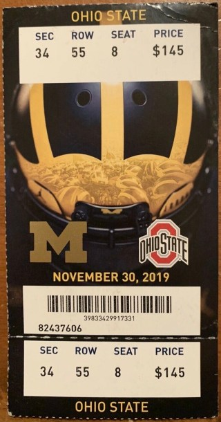2019 NCAAF Michigan Wolverines ticket stub vs Ohio State 5