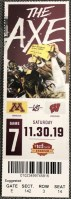 2019 NCAAF Minnesota ticket stub vs Wisconsin