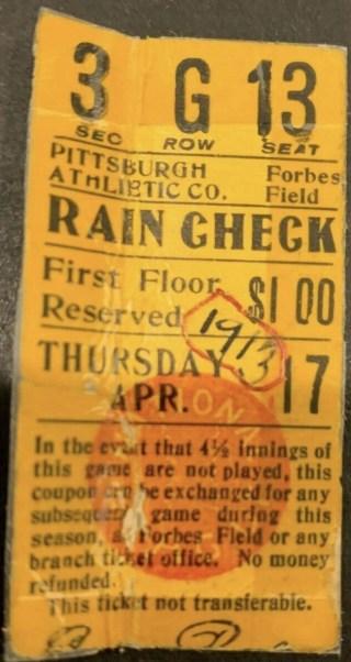 1913 Pittsburgh Pirates ticket stub vs Reds