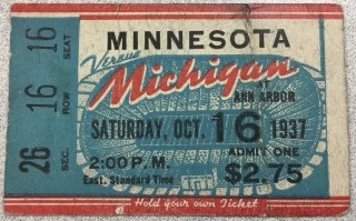 1937 NCAAF Michigan ticket stub vs Minnesota 45