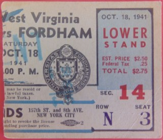 1941 NCAAF West Virginia at Fordham Polo Grounds 10.50