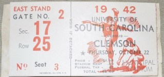 1942 NCAAF South Carolina Ticket Stub vs Clemson 20