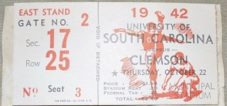 1942 NCAAF South Carolina Ticket Stub vs Clemson