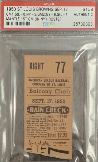 1950 Mickey Mantle's First game on New York Yankees roster ticket stub 450