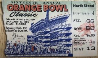 1950 Orange Bowl ticket stub 50