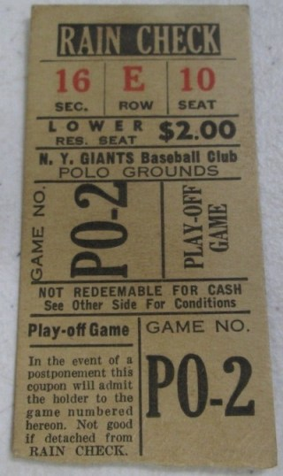 1950s New York Giants Baseball Ticket 2314