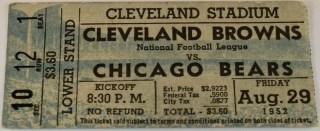 1952 Cleveland Browns ticket stub vs Bears
