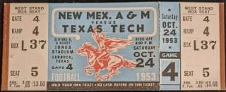 1953 NCAAF Texas Tech ticket stub vs New Mexico State