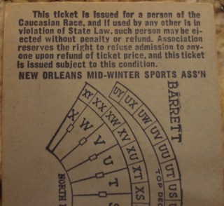 1953 Sugar Bowl Ticket w:Racial Restrictions on Reverse Authentic back