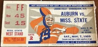 1959 NCAAF Auburn ticket stub vs Mississippi State
