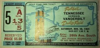 1964 NCAAF Vanderbilt Commodores ticket stub vs Tennessee 10