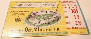 1967 NCAAF Tulane Green Wave ticket stub vs Air Force 13