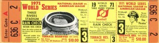 1971 World Series Game 3 full ticket Pirates vs Orioles