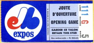 1975 Expos Opening Day ticket stub vs Phillies