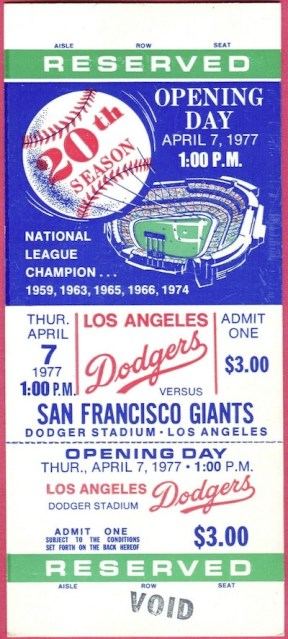 1977 Dodgers Opening Day ticket stub vs Giants 40