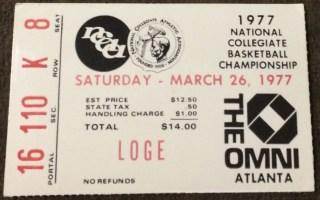 1977 NCAA Final Four Ticket Stub Marquette North Carolina UNLV UNC Charlotte 20
