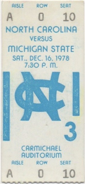 1978 NCAAMB North Carolina ticket stub vs Michigan State Magic Johnson 16