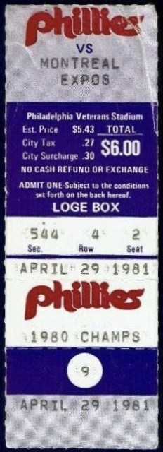 1981 Steve Carlton 3000th Strikeout ticket stub