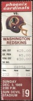 1989 Phoenix Cardinals ticket stub vs Washington
