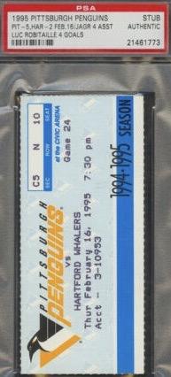 1995 Penguins Ticket Stub vs Whalers Jagr 4 Assists Robitaille 4 Goals 5