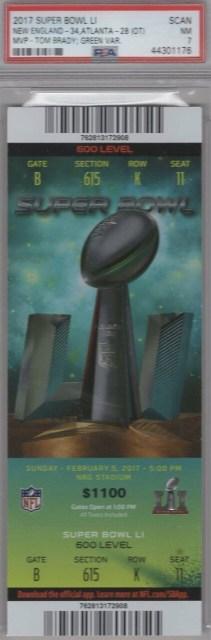 2017 Super Bowl ticket stub Patriots vs Falcons 177