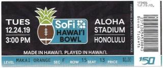 2019 Hawaii Bowl ticket stub Hawaii vs BYU